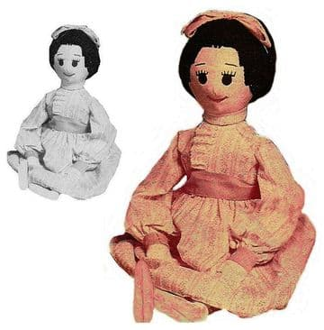 PDF Digital Download Vintage Sewing Pattern Beth 22'' Soft Body Cloth Doll & Clothes Stuffed Toy