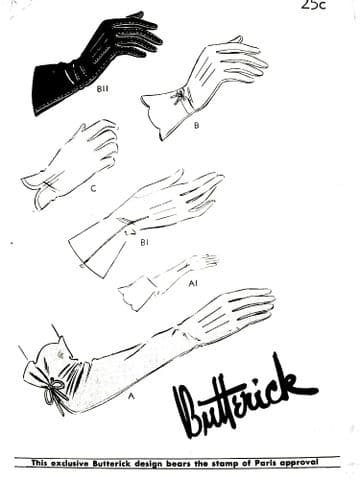 PDF Digital Download Vintage Sewing Pattern Butterick  8167 Ladies Women;s Assorted Gloves