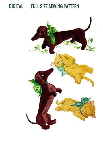PDF Digital Download Vintage Sewing Pattern  Dachshund Sausage Dog 15'' & Kitten Cat 11'