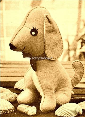 PDF Digital Download Vintage Sewing Pattern Dachshund/Sausage Dog/Puppy Soft Toys