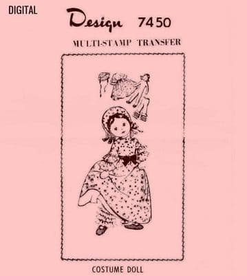 PDF Digital Download Vintage Sewing Pattern Design 7450 12-13'' Doll & Clothes Stuffed Soft Body Toy