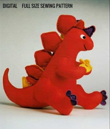 PDF Digital Download Vintage Sewing Pattern Dinosaur Stuffed Plush Soft Body Toy Animal