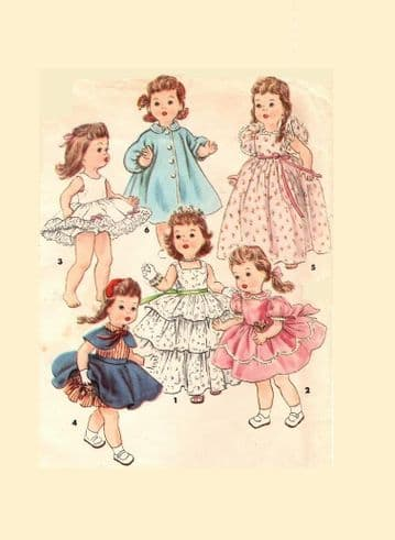 "PDF Digital Download Vintage Sewing Pattern Doll Clothes 4908 Bonny Braids 14"" Saucy Walker Dolls"