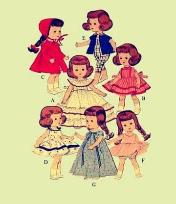 "PDF Digital Download Vintage Sewing Pattern Doll Clothes 8"" dolls Ginny Muffie Soft Toys"