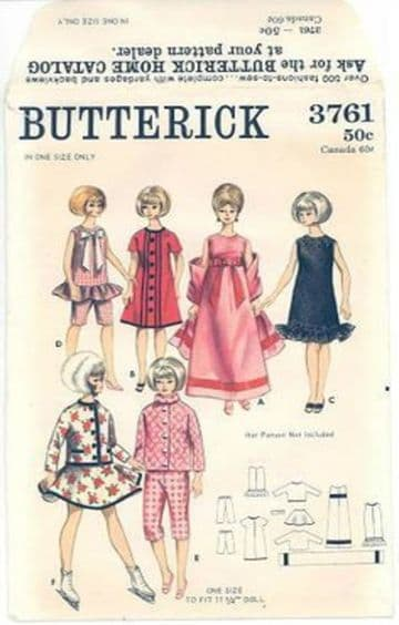 PDF Digital Download Vintage Sewing Pattern Doll Clothes Butterick 3761 Teenage Fashion Dolls Barbie