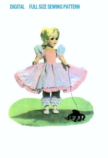 PDF Digital Download Vintage Sewing Pattern Doll Clothes Miss Muffet Outfit Slim 14'' Dolls Soft Toy