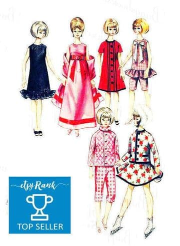 PDF Digital Download Vintage Sewing Pattern Doll Clothes Skating Outfit Barbie Midge Dolls Toys Toy