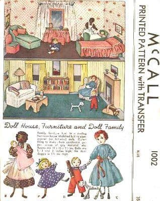 "PDF Digital Download Vintage  Sewing Pattern  Doll's House Family and Furniture Dolls are 5"", 3"", 2"""