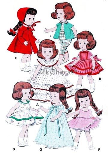 PDF Digital Download Vintage Sewing Pattern Dolls Clothes 8'' Dolls like Ginny or Muffie