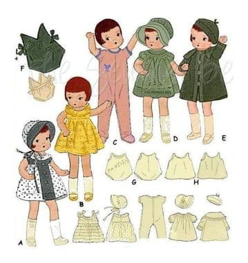 PDF Digital Download Vintage Sewing Pattern Dolls Clothes Patsy &PatsyetteDoll 9, 9.5'' Toys Dolls