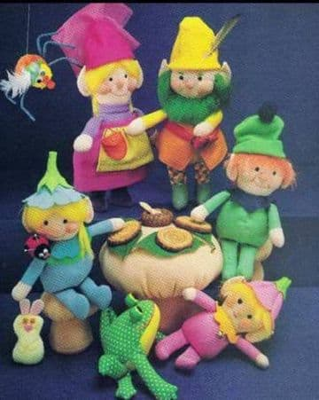 PDF Digital Download Vintage Sewing Pattern Elf Family Dolls with Toadstool Frog Bunny
