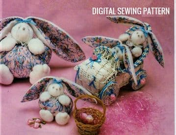 PDF Digital Download Vintage Sewing Pattern Full Size Stuffed Plush Easy Soft Toy Bunny Rabbit