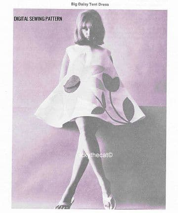 PDF Digital Download Vintage Sewing Pattern Ladies Women's 60s Mod Daisy Tent Dress Optional Motifs