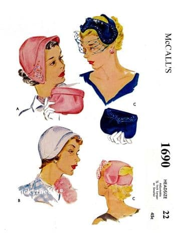 PDF Digital Download Vintage Sewing Pattern McCall 1690 Vintage Hat Hats & Bag Bags Ladies Millinery