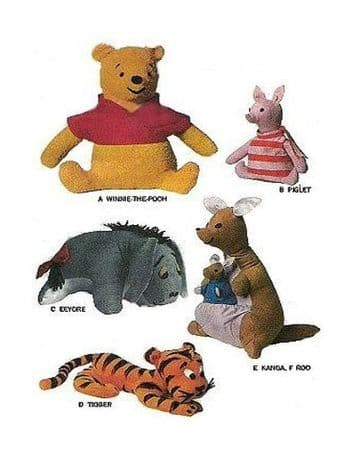 PDF Digital Download Vintage Sewing Pattern McCalls 8087 Winnie The Pooh & Friends Soft Toy Animals