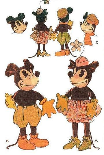 PDF Digital Download Vintage Sewing Pattern McCalls 91 Mickey & Minnie Mouse with Clothes 18'' High
