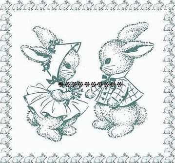 PDF Digital Download Vintage Sewing Pattern Mr & Mrs Rabbit with Clothes Soft Stuffed Plush Toys 14""