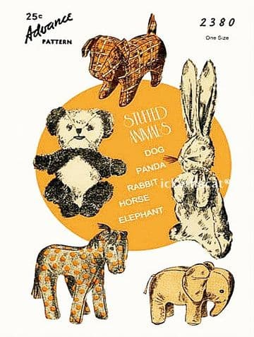 PDF Digital Download Vintage Sewing Pattern Panda Dog Bunny Horse Elephant Plush Soft Toy Animals