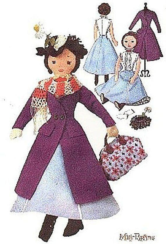 PDF Digital Download Vintage Sewing Pattern Rag Doll Mary Poppins & Clothes Stuffed Soft Toys Dolls