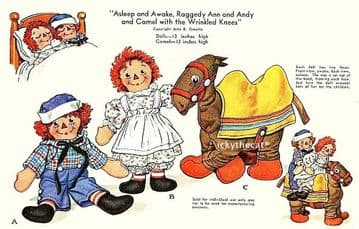 PDF Digital Download Vintage Sewing Pattern Raggedy Ann & Andy with Camel Soft Plush Toys Dolls