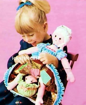 PDF Digital Download Vintage Sewing Pattern Rags to Riches 18'' Topsy Turvy Soft Toy Doll & Clothes