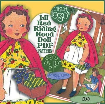 PDF Digital Download Vintage Sewing Pattern Red Riding Hood Doll & Clothes 3 sizes Soft Toy Dolls