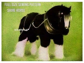 PDF Digital Download Vintage Sewing Pattern Shire  Heavy Horse Stuffed Soft Body Toy Animal