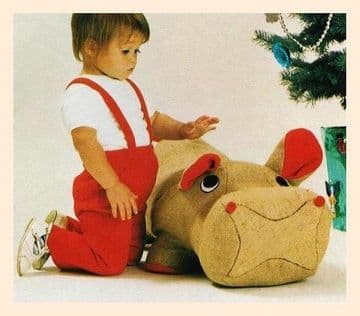 PDF Digital Download Vintage Sewing Pattern Sit Ride On Hippopotamus Stuffed Plush Soft Body Toy
