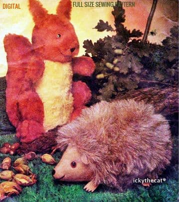 PDF Digital Download Vintage Sewing Pattern Squirrel & Hedgehog Stuffed Plush Soft Toy Animals