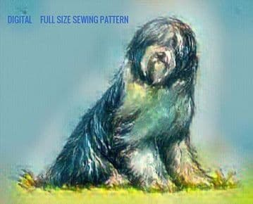 PDF Digital Download Vintage Sewing Pattern  Stuffed Plush Soft Body Toy 24'' Bearded Collie Dog
