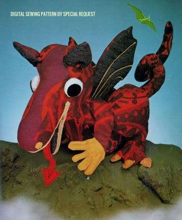 PDF Digital Download Vintage Sewing Pattern Stuffed Plush Soft Body Toy Dragon Animal