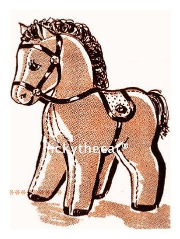 PDF Digital Download Vintage Sewing Pattern  Stuffed Plush Soft Toy, Pony or Horse 12""