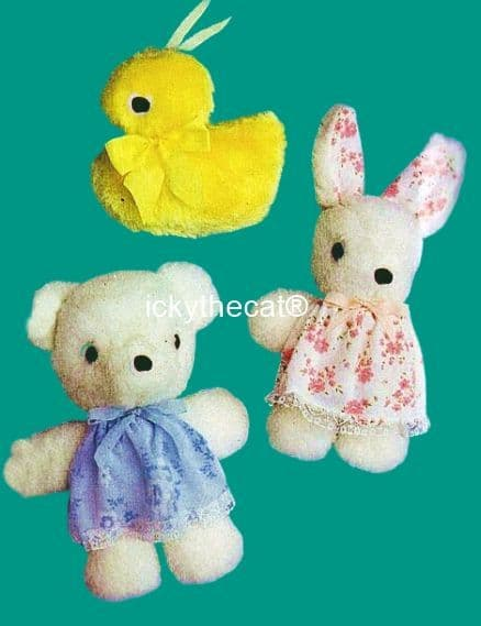 PDF Digital Download Vintage Sewing Pattern Stuffed Plush Soft Toy Teddy Bear Duck and Rabbit