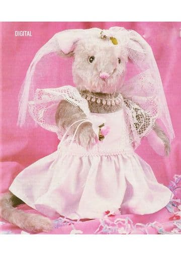 PDF Digital Download Vintage Sewing Pattern Sweet Bride Mouse Stuffed Soft Toy Animal Doll