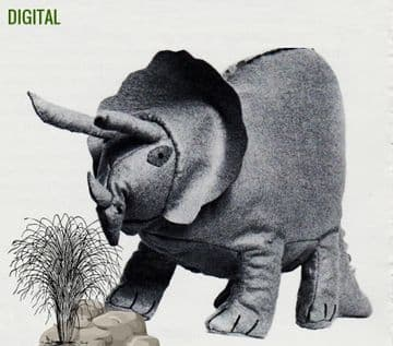 PDF Digital Download Vintage Sewing Pattern Triceratops Dinosaur Stuffed Soft Body Toy