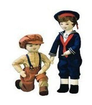 PDF Digital Download Vintage Sewing PatternTwo 18'' Boy Girl Dolls & Clothes Stuffed Soft Toys Doll