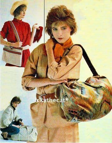 PDF Digital Download Vintage Sewing Pattern Women's Ladies 3 Handbags/Bags/Tote Carpet,Travel Flight