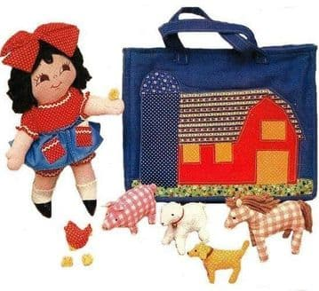 PDF Digital Download Vintage Sewing Pattern14' Farm Girl & Pet Animals in Tote Bag Soft Toys