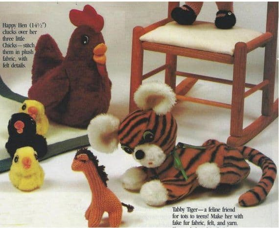 PDF Digital Download Vintage Sewing Tiger Hen Chicks Chickens Hens Stuffed Soft Body Plush Toys