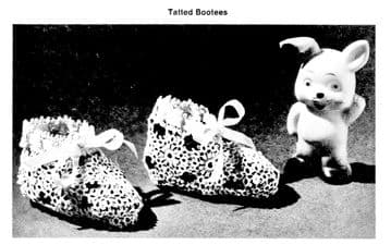 PDF Digital Download Vintage Tatting Pattern  Baby Bootees/Slippers/Shoes