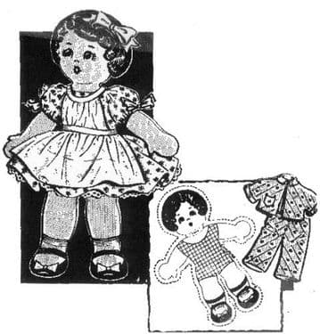 PDF Digital Download VintageSewing Pattern10'' Piilow Doll & Clothes Stuffed Soft Body Toy