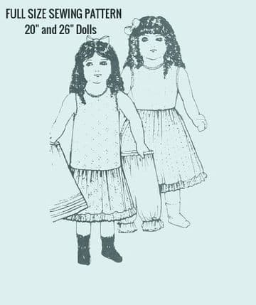 PDF Digital DownloadVintage Sewing Pattern 20 & 26'' Doll Clothes Underwear Petticoat Dolls Toys