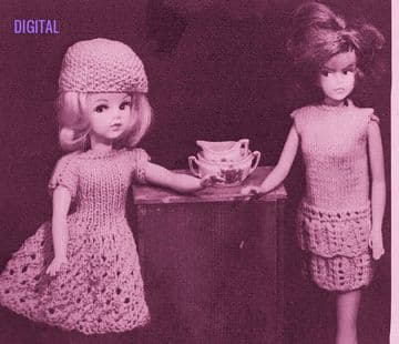 PDF Digital Downloasd  Vintage Knitting Pattern Teenage Doll Clothes Tiered Frill Dress Bag Barbie