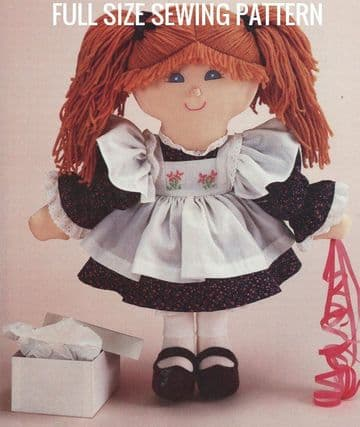 PDF Digital Full Size Sewing Pattern A Pigtail Girl Rag Doll & Clothes Stuffed Soft Body Cloth Doll
