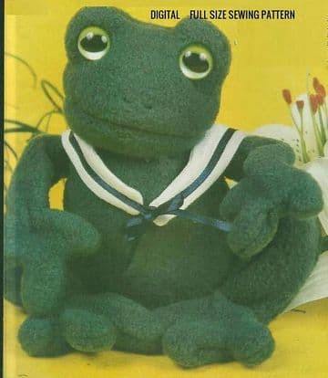PDF Digital Full Size Vintage Sewing Pattern A Large Stuffed Plush Soft Body Toy Frog