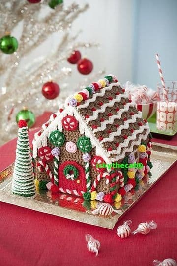 PDF Digital Gingerbread House and Tree Crochet Pattern Christmas Crochet Decor Ornament