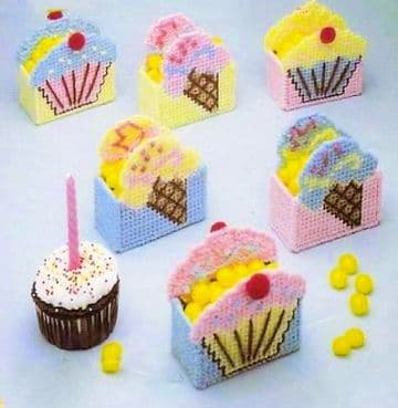 PDF Digital Plastic Canvas Mini Cupcake and Ice Cream Treat Holders Baskets