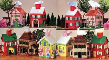 PDF Digital Plastic Canvas Pattern Tissue Topper Houses Holidays Village