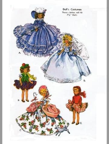 """PDF DIGITAL Selection of Vintage Clothes for a 7.5"""" Dolls  with 3.75"""" waist,4.75 Dolls."""