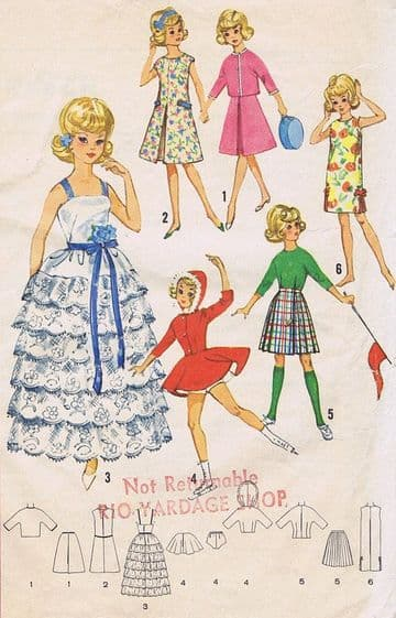 PDF DIGITAL SEWING PATTERN TEENAGE DOLLS CLOTHES FOR 12'' TAMMY